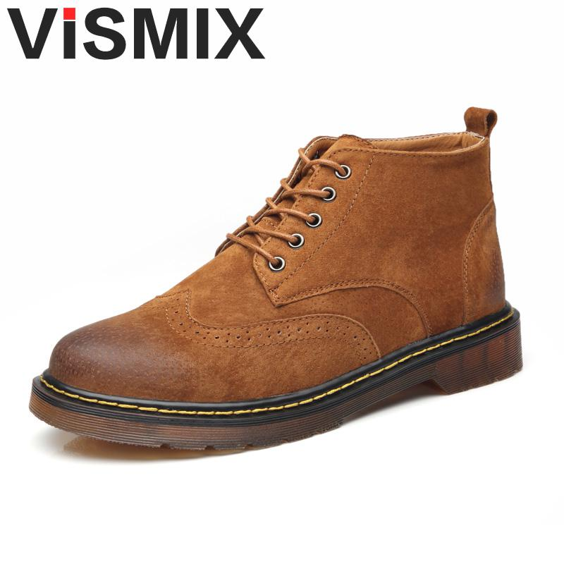 VISMIX Classic Genuine Leather Tooling Boots Crazy Horse Leather Martin Boots Men Fashion Boots Popular High Top Leather Shoes
