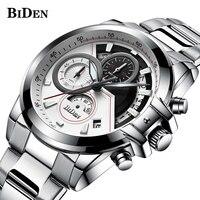 Biden cronógrafo novo relógio do esporte dos homens topo de luxo quartzo relógios de pulso relógio masculino exército militar relógio de pulso
