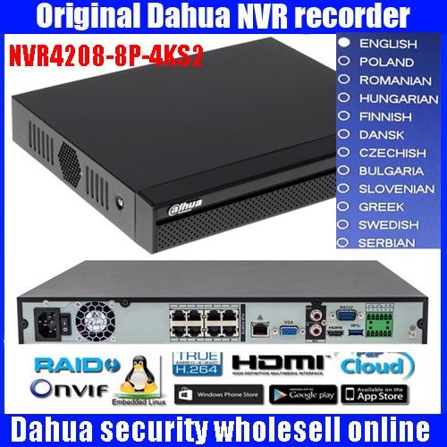Original Dahua mutil language version NVR4208-8P-4KS2 H.265 NVR with 2SATA 8POE ports , 4K NVR 8ch DH-NVR4208-8P-4KS2 DHL ship in stock free shipping english version ds 7608ni k2 8p 8ch 4k nvr 2sata with 8poe ports embedded plug