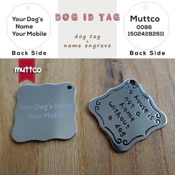 50pcs/lot laser lettering kirsite alloy self-design dog pet tag DIY letter square dog id tag carve dogs name and tel DIT-003-3