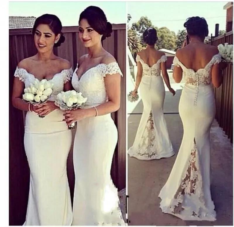 Elegant Long Formal Women 2018 vestido de festa longo Lace Off Shoulder Mermaid Corset Covered Button Back Bridesmaid Dresses