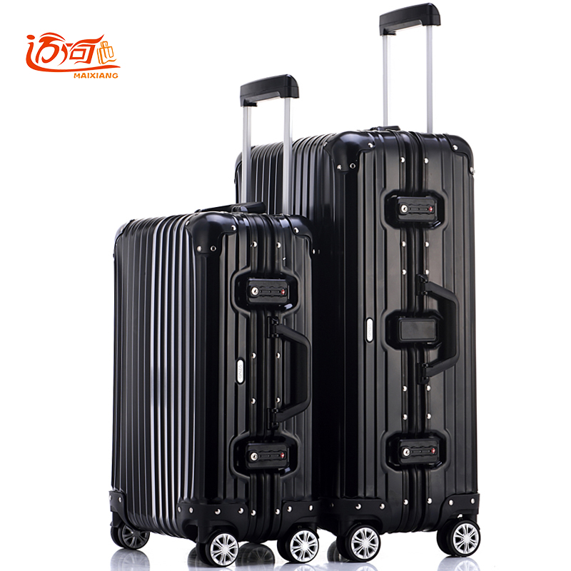 100% fully Aluminum-magnesium alloy rolling luggage 20/25 inch trolley luggage woman crash proof suitcase 20 25 29 aluminum magnesium alloy metal luggage fashion spinner rolling suitcase business aluminum frame luggage
