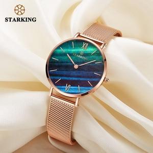Image 5 - STARKING למעלה מותג אופנה גבירותיי רשת שעונים נקבה קוורץ שעון אמרלד נשים יוקרה נירוסטה שעון Reloj שעוני יד