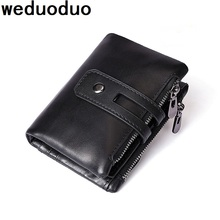 Weduoduo 100% Genuine Leather Men Wallet Double Zipper Men Walet Portomonee Male Short Coin Purse Brand Perse Carteira For Rfid jinbaolai genuine leather men wallet small men walet zipper hasp male portomonee short coin purse brand purse carteira for rfid