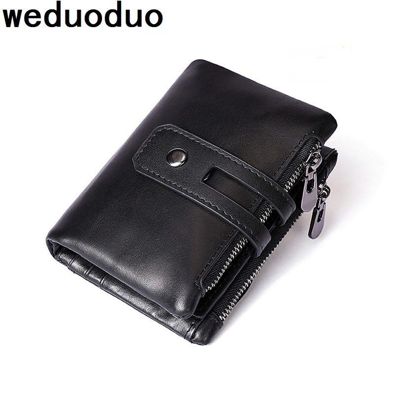 Weduoduo 100% Genuine Leather Men Wallet Double Zipper Men Walet Portomonee Male Short Coin Purse Brand Perse Carteira For Rfid