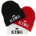 Hot New Fashion Men Hat Caps Embroider KING Beanies Hats Adult Winter Warm Black White Red Gorro Acrylic Knitted Hats For Boys