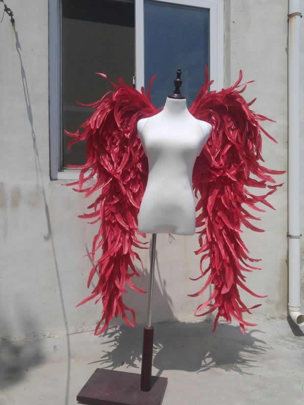 Большие красные, фиолетовые, черные ангельские крылья, модель шоу на сцене, подиумная игра, съемка, большой реквизит, серия перьев, креативны