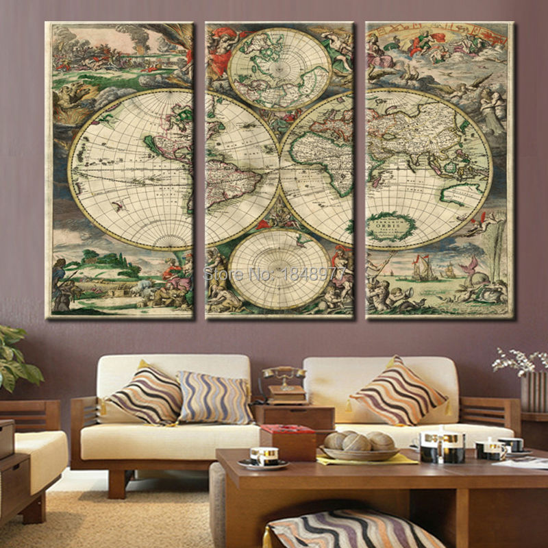 3 Pieces Wall Art Vintage World Map
