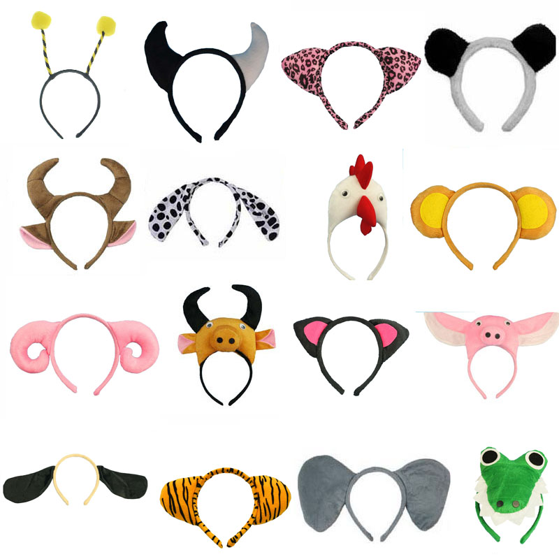 Adult Kids Animal Ear Headband Bee Tiger Cartoon Cosplay Hairbands Headwear Carnival Children Birthday Party Halloween Purim