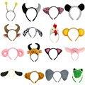 Diadema de orejas de Animal cerdo jirafa Tigre perro mono Cosplay diademas para la cabeza carnaval niños fiesta de cumpleaños Halloween