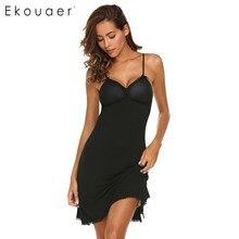 Ekouaer rendas guarnição nightwear feminino sexy sleepwear cinta espaguete acolchoado camisola de renda guarnição babydoll chise peito almofada pijamas