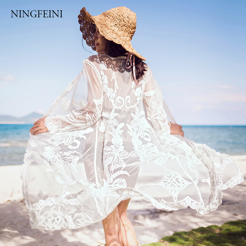 2018 Bikini cover up lace fringe floral chiffon embroidery tunic pareo long cardigan crochet tassel beach wear swimming bathing