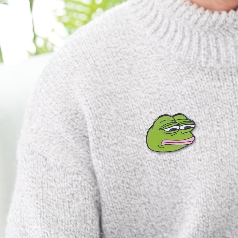 Pepe Sad Frog Enamel Lapel Pin Feels Bad Man Brooch Pin Feels Good Man Badges Pop Funny Pins Jewelry For Clothing Apparel Sewing & Fabric