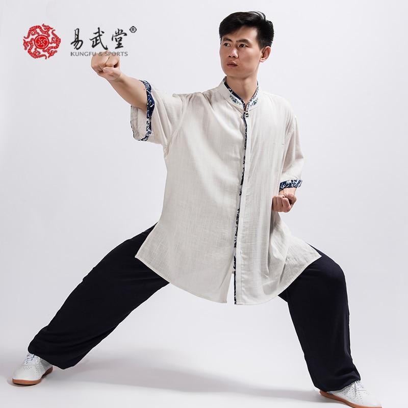 Yiwutang New Martial Art Cotton Linen Suit Tai Chi Kung Fu Top Quality Wu Shu Uniform  Shirt Pants  Summer Men Women Yoga Unisex