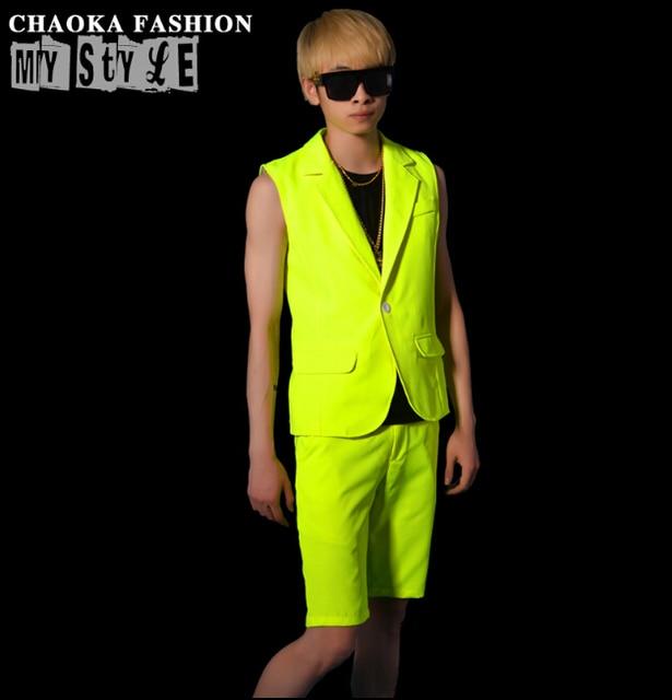 Hot 2015 nova marca de moda homens esverdeado amarelo fluorescente colete colete de DSDJ roupas cantores de bar boate