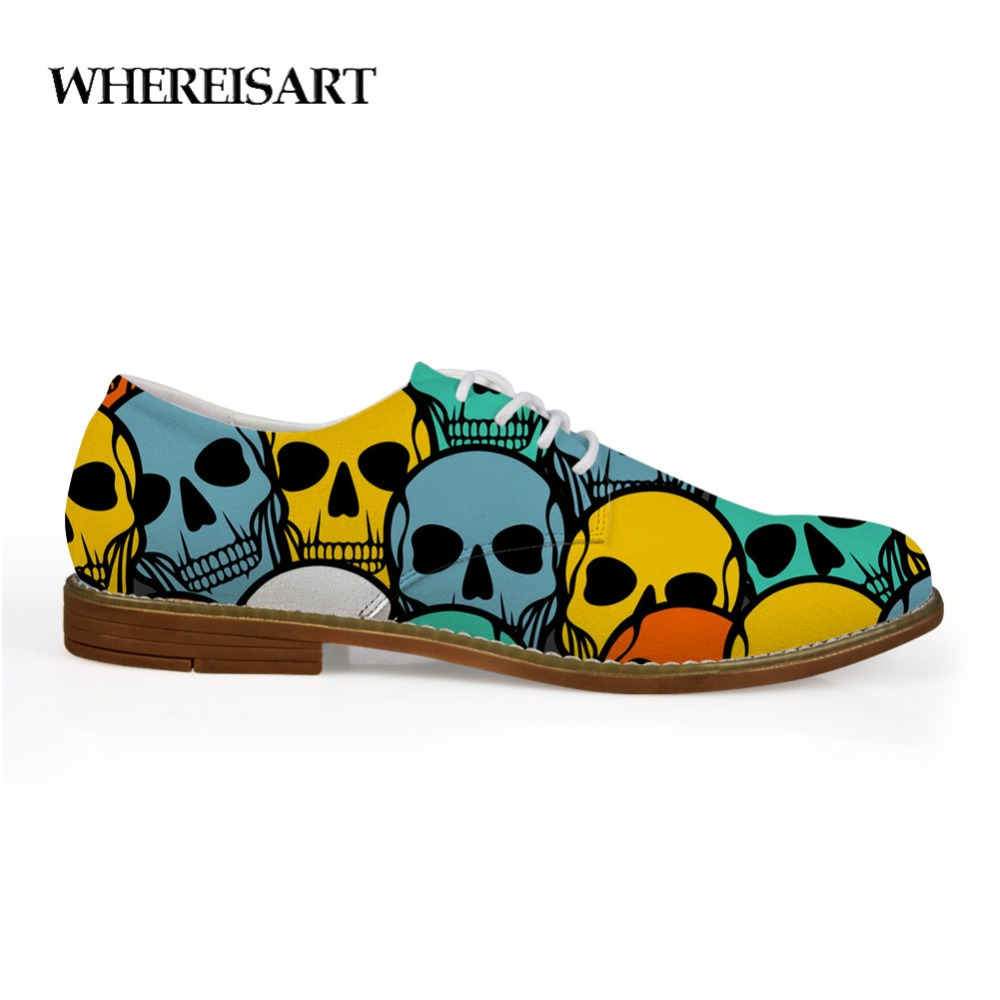 WHEREISART New Oxford Hand Drawn Skull Shoes for Men Leather Summer Leopard Flat Shoes for Studnets Oxford Classic Shoes
