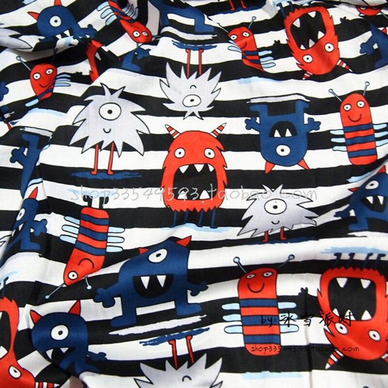 Breite 140cm Cartoon Monster Fabric100 % Baumwolle Stoff Satin Monster Gedruckt Tuch Quilten Hause Patchwork DIY Nähen Baby Kleidung
