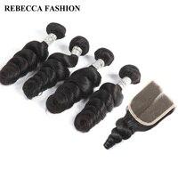 Rebecca Peruvian Loose Wave Bundles With Closure Remy Human Hair Weave 4 Bundles 4x4 Lace Closure