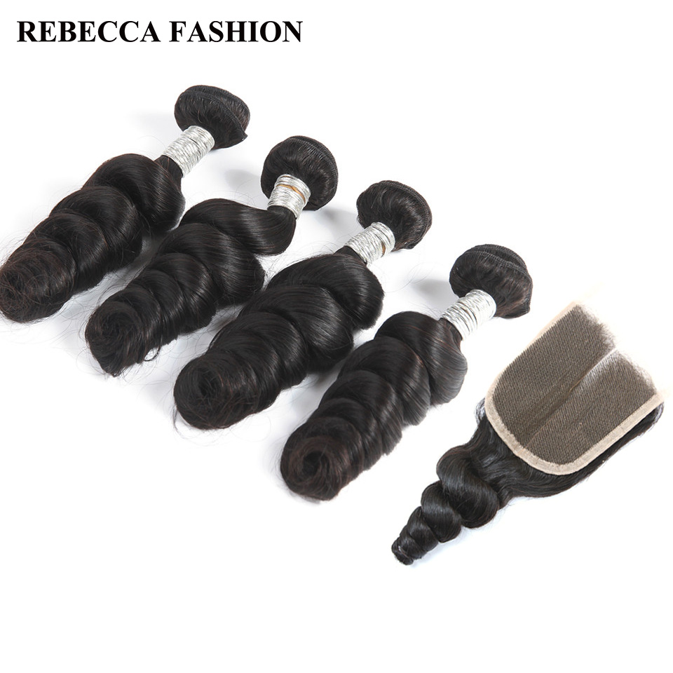 Rebecca Peruvian Loose Wave Bundles With Closure Remy Human Hair Weave 2 3 4 Bundles With
