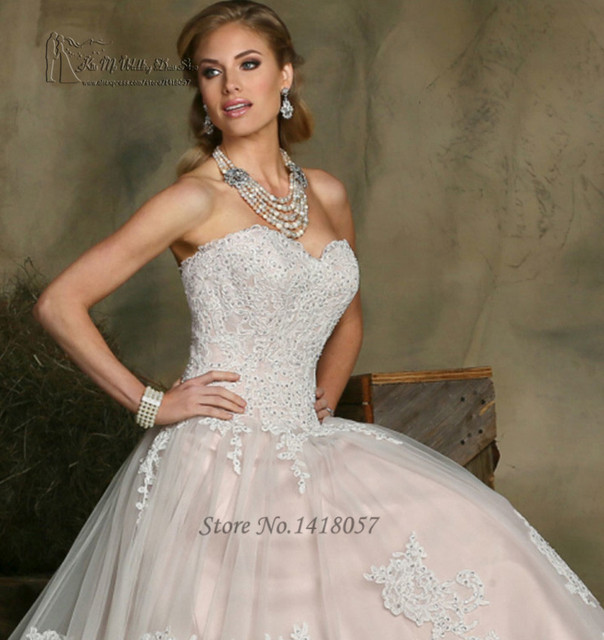 Us 176 0 Vestido De Noiva Vintage Pink White Lace Wedding Dress Ball Gown 2016 Custom Made Wedding Gowns Bridal Dresses Women Casamento In Wedding
