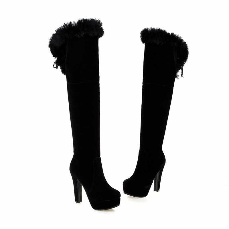 ASUMER 2020 ใหม่มาถึงผู้หญิงรองเท้าแฟชั่นสีดำสีแดง FLOCK Zipper ลูกไม้ขึ้นสุภาพสตรีเข่าบู๊ท elegant