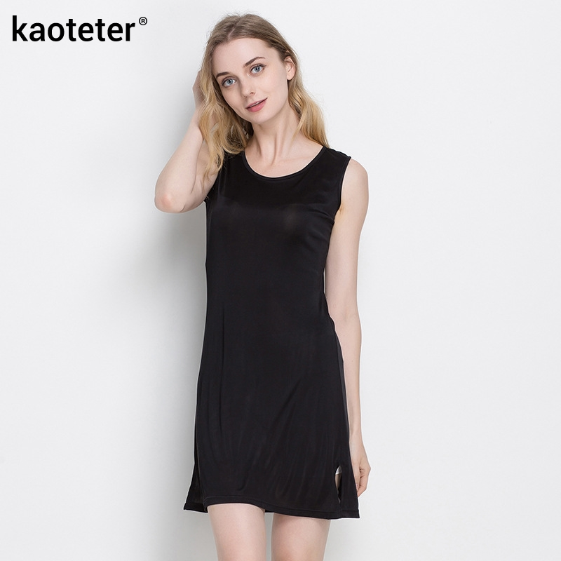 100% Pure Silk Womens Slips Female Long Silk Knitting Bottoming Casual Shoulder-Straps Women Sleeveless Sleep Slip Dress Ladies