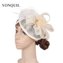 Sinamay party derby fascinator with 3roses in center women wedding hat red  ivory pink color feather headpieces elegant headbands 03b5c67c0457