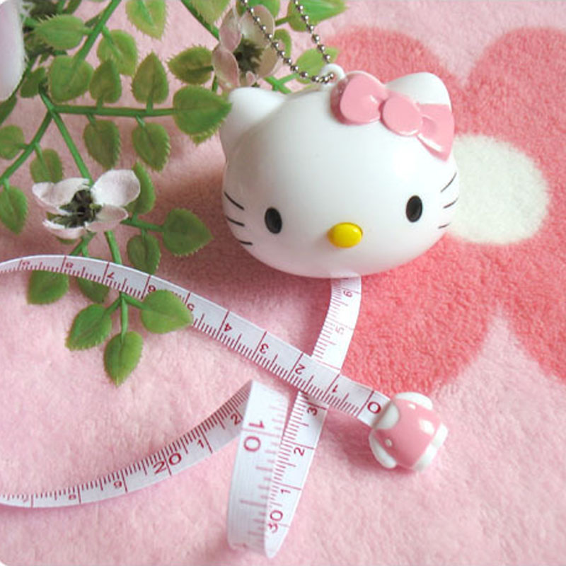 Hello Kitty Drawing Toy Tape Ruler Kid's Drawing Play Toy Tape Measurement Ruler Tapeline Keychain Tape Ruler 1m Ruler G0191 rolilason minimalist design 925 sterling silver pink heart shaped zircon pendant necklace party gift sp75