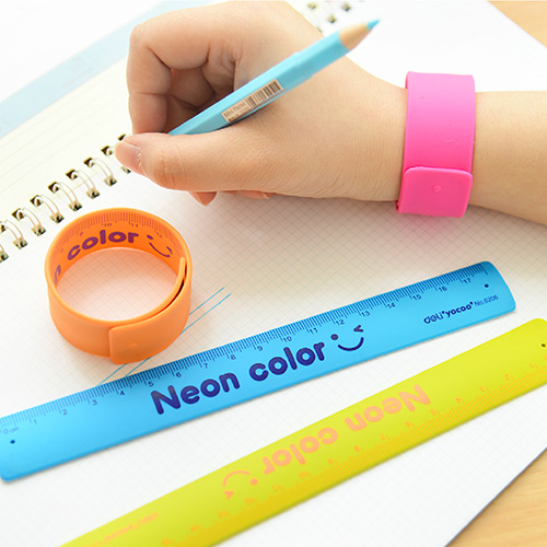 2 Pcs/lot Silicone Material Rulers Student Creative Stationery Children Gift Bracelet Rulers 18cm