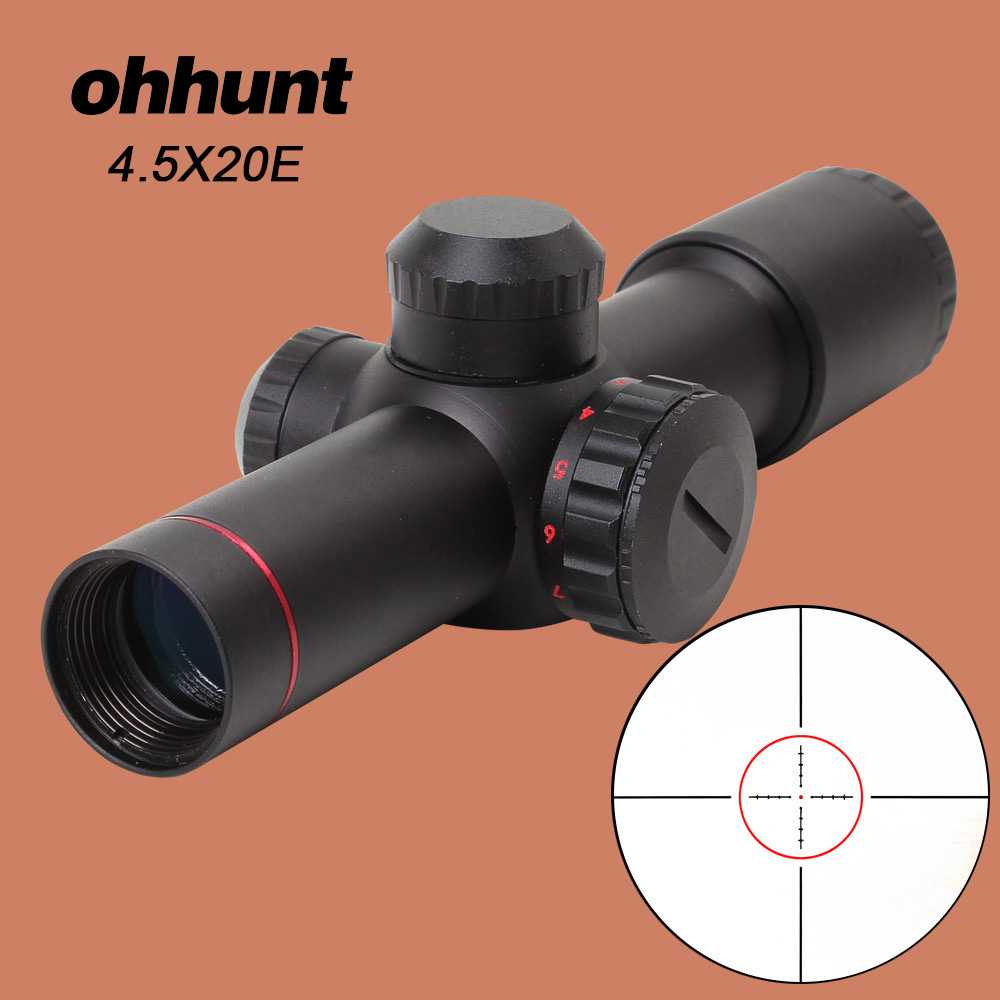 все цены на ohhunt 4.5x20E Hunting Rifle Scope Compact Red Illuminated Glass Etched Reticle With Flip-open Lens Caps and Rings онлайн