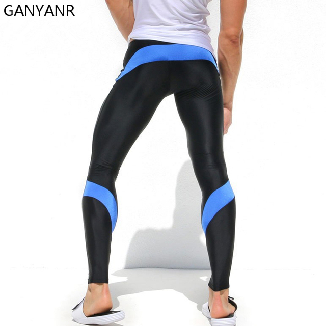 fcf100fbec GANYANR Brand Running Tights Men Sport Fitness Joggers Leggings Compression  Traning Crossfit Pants Winter Long Gym Spandex