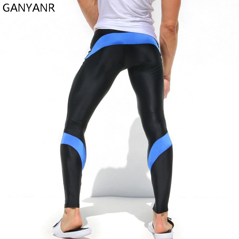 GANYANR Brand Running Tights Men Sport Fitness Joggers Leggings Compression Traning Crossfit Pants Winter Long Gym Spandex