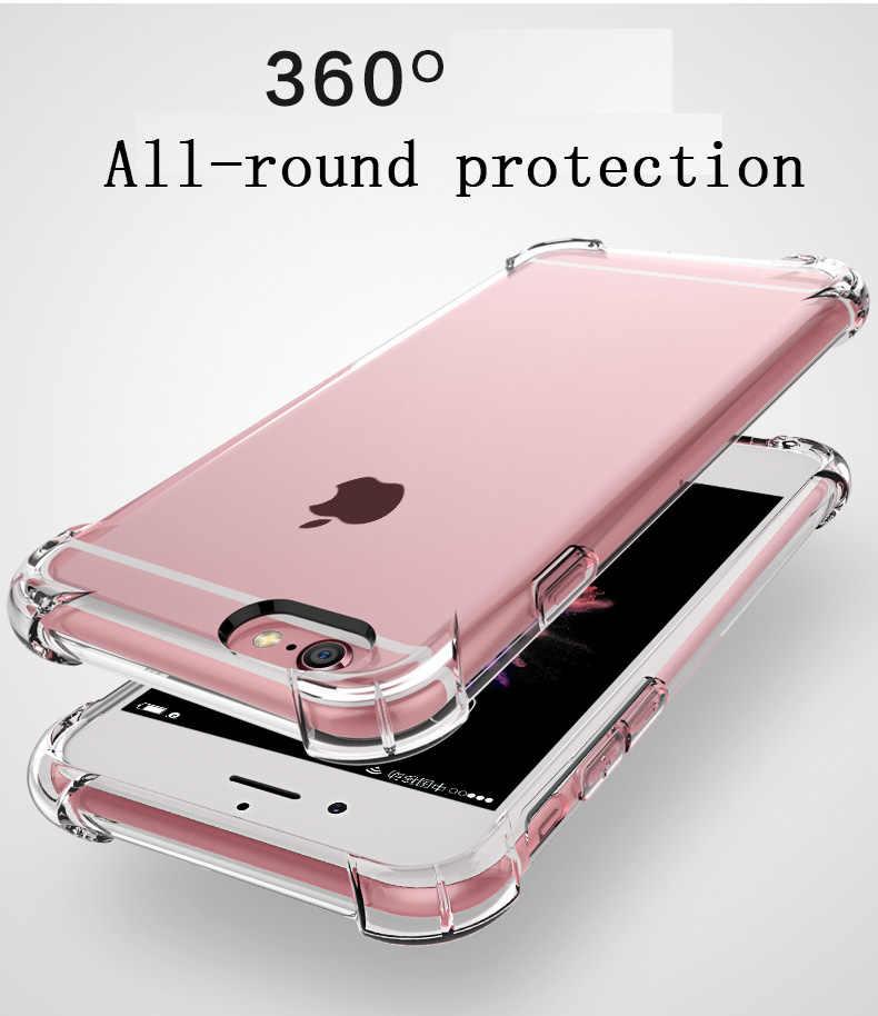 Súper a prueba de golpes suave funda transparente para iPhone 5 y 5s 6 7 8 Plus 6splus 8 Plus X XR XS 11 Pro MAX silicona funda trasera del teléfono móvil de lujo
