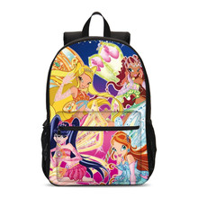 Anime Winx Club Large School Bags For Teenage Girls Laptop Backpack Children Bookbag Primary School Backpack Mochila Grade 1-3(China)