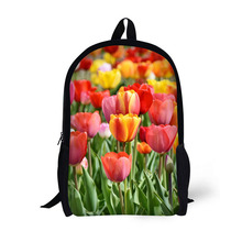 Flower Tulip Printing Backpack Children School Bags For Teenager Girls Backpacks Laptop 17 Inch