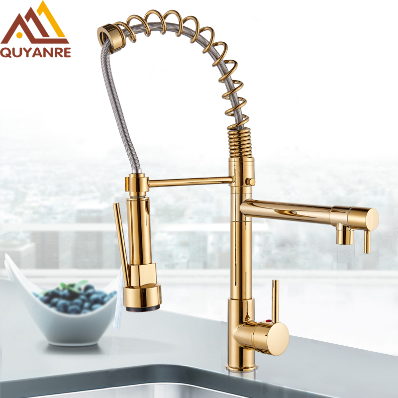 Us 39 0 40 Off Quyanre Golden Chrome Spring Pull Down Kitchen Faucet Dual Spouts 360 Rotation Single Handle Kitchen Mixer Tap 2 Outlet Taps In