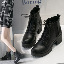 Women's boots 2019 new summer fashion thick with high-heeled women's boots round head waterproof platform women's booties(China)