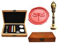 Vintage Cute Dragonfly Custom Luxury Wax Seal Sealing Stamp Brass Peacock Metal Handle Sticks Melting Spoon