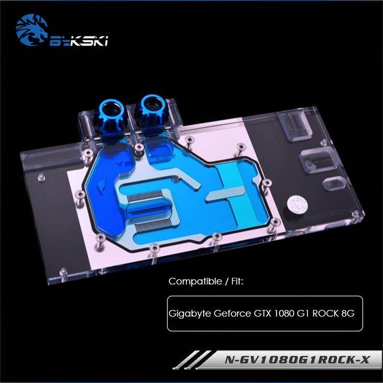 Bloc d'eau Bykski utilisé pour Gigabyte Geforce GTX1080 G1 ROCK 8G, radiateur refroidi en cuivre, refroidisseur GPU à couverture complète, N-GV1080G1ROCK-X