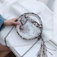 Прозрачный ПВХ желеобразная, с цепочками круглый курьерские Сумки для женщин сумка ясно Змеиный плечо Crossbody дамы круговой кошельки