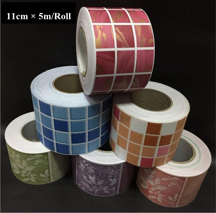 5m*11cm PVC Self Adhesive Living Room Kitchen Baseboard Wallpaper Stickers Waterproof Bathroom Sticker Wallpaper Wall Decoration european 3d wallpaper moroccan style wall stickers waterproof kitchen toilet decoration classical pattern living room murals