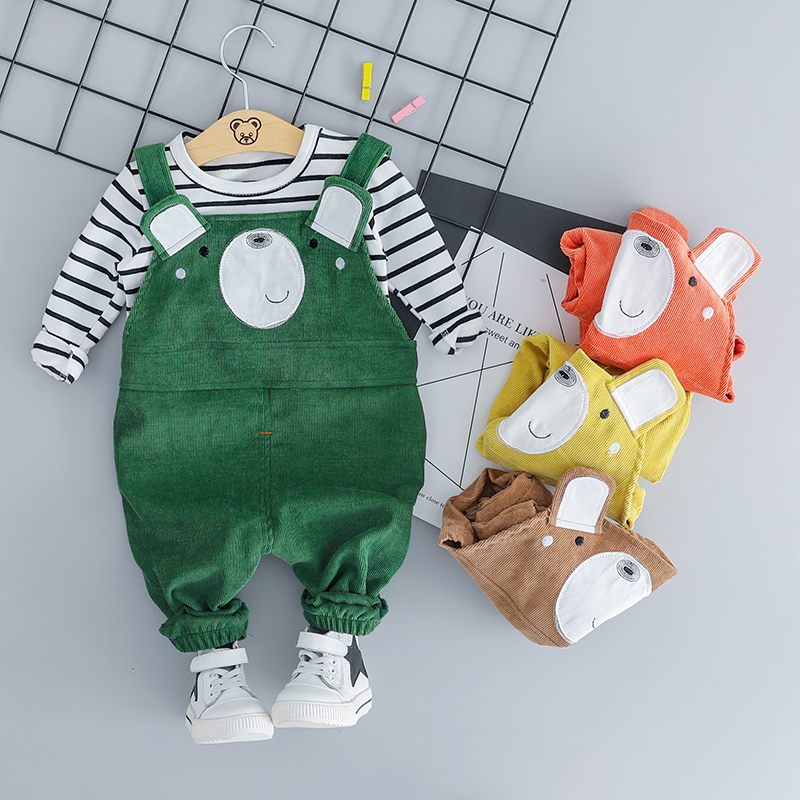 HYLKIDHUOSE Baby Girls Boys Clothing Sets 2018 Autumn Children Clothes Suits Toddler Infant Bear T Shirt Bib Pants Kids Costume baby boys girls sets 2018 winter t shirt pants cotton kids costume girl clothes suits for boy casual children clothing 3cs204