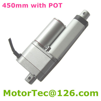 450mm stroke 12V 24V DC input 900N 90KG 198LBS load 80mm/s speed linear actuator with potentiometer POT position signal feedback