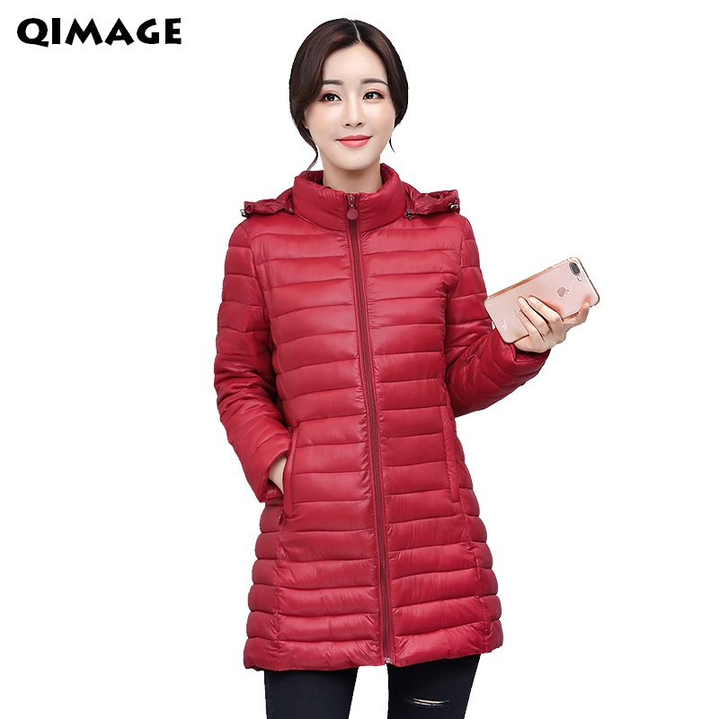 QIMAGE Large Size Women Winter Parkas 2017 SlimLong Jacket Coats Thick Warm Hooded Cotton-Padded Jacket Female Outerwear  L-4XL 2017 women winter jacket coats thick fur collar cotton padded hooded jacket female outerwear coats warm parkas plus size jacket
