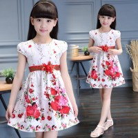 2018 Floral Children Toddler Girls Dress Beach Summer 2018 Casual Glower Princess Teenage Kids Dress Girl