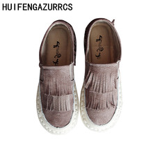 HUIFENGAZURRCS-Head layer cowhide pure handmade new Japanese folk style shoes,Sen female casual soft sole fashion shoes
