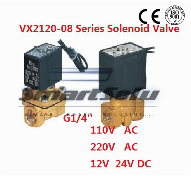 Free Shipping 1/4 Inch Brass Solenoid Valve 12V DC Electric Air Water Gas Normally Open 5pcs lot x 2w 200 20 3 4 inch brass electric solenoid valve water air fuels n c dc 12v