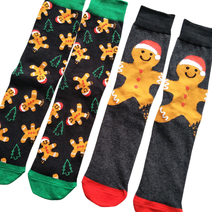 Adult Size Crew   Socks   New Christmas Gingerbread Man Sweat Snow Happy Doll Jingle Bells Melody Snowman Butter Sugar Honey Xmas