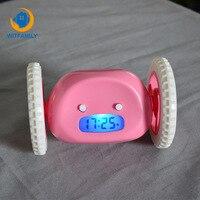Cute Moving Runaway Running On Wheels Digital LCD Alarm Clock smart Customizable snooze clock hasing alarm running on wheels
