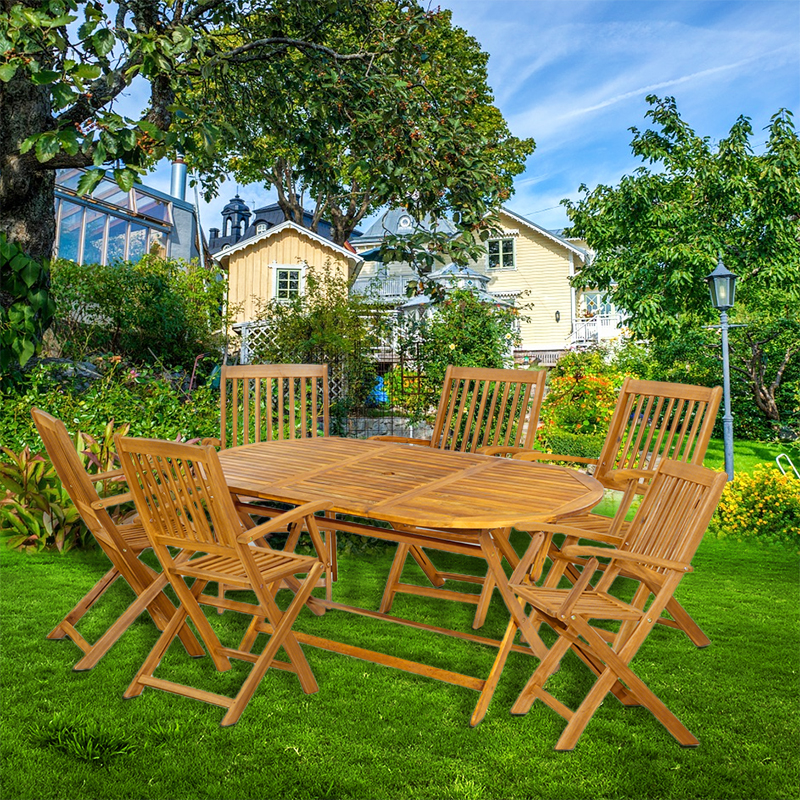 Sydney Garden Set 1 Table 6 Chair Foldable Eco Outdoor Acacia Wood Furniture HOT SALE kehlani sydney